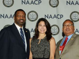 From left: Derrick Johnson, interim NAACP president and CEO, Belinda Johnson, Airbnb's chief business affairs officer, and Leon Russell, NAACP board chair (Courtesy photo)