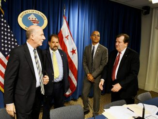 (L-R) Council Chair Phil Mendelson, Rep. Franklin Garcia Shadow Senators Paul Strauss and Michael D. Brown (Roy Lewis - The Washington Informer)