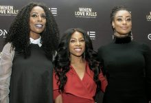 """From left: Actresses Tasha Smith, Niatia """"Lil' Mama"""" Kirkland and Tami Roman on the red carpet at TV One's premiere of """"When Love Kills"""" at Newton White Mansion in Mitchellville, Md., on Aug. 14. (Shevry Lassiter/The Washington Informer)"""