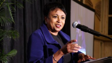 Librarian of Congress Carla Hayden speaks during the Association of African American Museums Conference's luncheon at the Smithsonian National Museum of African American History and Culture in D.C. on Aug. 2. (Roy Lewis/The Washington Informer)