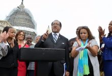 NNPA President Benjamin F. Chavis and Washington Informer Publisher Denise Rolark Barnes join Congresswoman Eleanor Holmes Norton and others at a news conference in 2016 regarding federal advertising spending with minority-owned media companies. (Freddie Allen/NNPA)