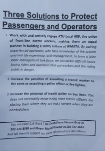 Members of the Amalgamated Transit Union Local 689 distributed these fliers Sept. 1 to riders at Minnesota Avenue Metro station in northeast D.C. (William J. Ford/The Washington Informer)