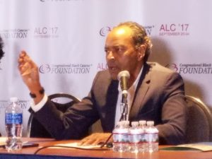 James Carr, urban affairs professor at Wayne State University in Detroit and co-author of a report on black housing in America, speaks during the Congressional Black Caucus Foundation's 47th Annual Legislative Conference in northwest D.C. on Sept. 21. (William J. Ford/The Washington Informer)