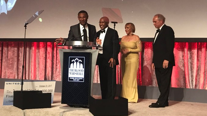 Dr. Harry L. Williams (second from left) is announced as the new president and CEO of the Thurgood Marshall College Fund during the organization's 30th anniversary gala at Washington Marriott Wardman Park Hotel in D.C. on Oct. 23. (Courtesy of the Thurgood Marshall College Fund via Twitter)