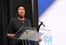 D.C. Mayor Muriel Bowser addresses attendees at the DC Public Education Fund's 2017 Philanthropy Forum at Paul Laurence Dunbar High School in northwest D.C. on Oct. 5. (E Watson/EDI Photo)