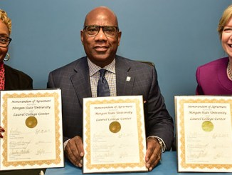 The presidents of Prince George's and Howard community colleges and Morgan State University signed an agreement to allow students who graduate with associate's degrees from the two community colleges to study for bachelor's degrees in engineering or psychology at the Laurel College Center. (Courtesy of MSU)