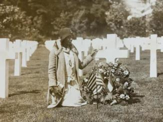 "A pilgrim of Party ""L"" at Suresnes American Cemetery, Suresnes, France-July 26, 1930. (National Archives, College Park)"