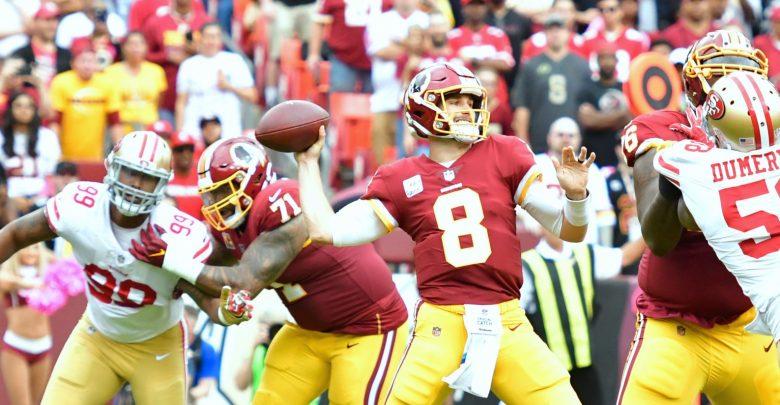 Kirk Cousins (8) led the Washington Redskins to a 26-24 win over the San Francisco 49ers at FedEx Field in Landover, Maryland, on Oct. 15. (John De Freitas/The Washington Informer)