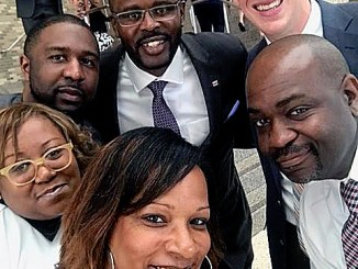 D.C. Schools Chancellor Antwan Wilson (center) recently congratulated DCPS administrators during Principal Appreciation Month. (Courtesy of DCPS)
