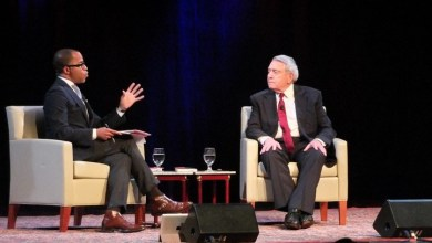 "Jonathan Capehart (left), a Pulitzer Prize-winning journalist, interviews renowned news correspondent Dan Rather about Rather's new book, ""What Unites Us,"" at the G.W. Lisner Auditorium in D.C. on Nov. 9. (Courtesy of Bruce Guthrie)"
