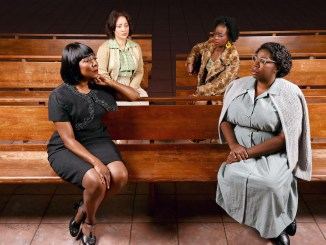 """Harriett D. Foy (Nina Simone), Toni L. Martin (Sephronia), Felicia Curry (Sweet Thing) and Theresa Cunningham (Sarah) in""""Nina Simone: Four Women,"""" running through Dec. 24 at Arena Stage at the Mead Center for American Theater. (Tony Powell)"""