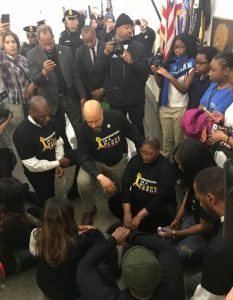 Civil rights leaders hold a demonstration in front of the Capitol Hill office of House Speaker Paul Ryan on Feb. 27 in protest of the nation's immigration policies. (Courtesy of National Coalition on Black Civic Participation)