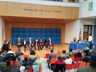 Seven of the eight Maryland Democratic gubernatorial candidates participate in a Young Voter's Forum at Goucher College in Towson. (William J. Ford/The Washington Informer)