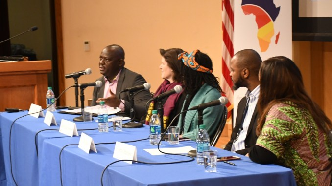 Participants speak during a panel on media and entertainment during Georgetown University's fourth annual Africa Business Conference at the school's northwest D.C. campus on Feb. 3. (Roy Lewis/The Washington Informer)