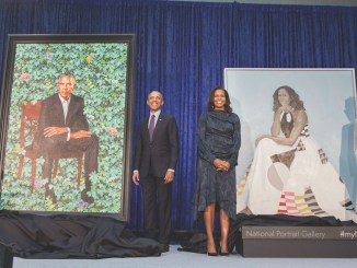 Artists Kehinde Wiley (left) and Amy Sherald (right) join former President Barack Obama and wife Michelle for the unveiling of their portraits at the Smithsonian National Portrait Gallery in D.C. on Feb. 12. (Pete Souza)
