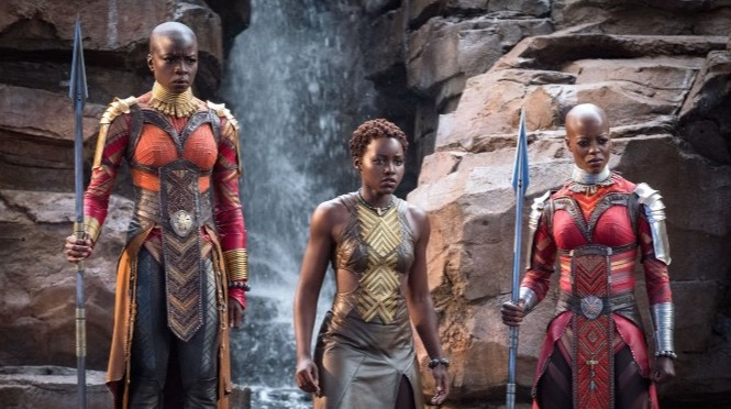 "From left: Okoye (Danai Gurira), Nakia (Lupita Nyong'o) and Ayo (Florence Kasumba) in Marvel's ""Black Panther"" (Matt Kennedy/Marvel Studios)"