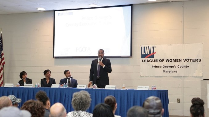 Maryland state Sen. C. Anthony Muse (standing) addresses an audience during a Jan. 31 candidate's forum for Prince George's County executive. The county's Educators Association hosted the discussion at its headquarters in Forestville. (Demetrious Kinney/The Washington Informer)