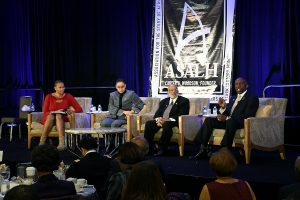 "Cadet Simone Askew (2nd left) speaks on a panel moderated by (L-R) U.S. Army Reserves founder/president Major Jaspen ""Jas"" Boothe, Major James Dula, USAF Retired, and Lt. Gen. (Ret.) William ""Kip"" E. Ward during the 92nd annual Black History Luncheon at the Washington Renaissance Hotel in D.C. on Feb. 24. (Roy Lewis/The Washington Informer)"