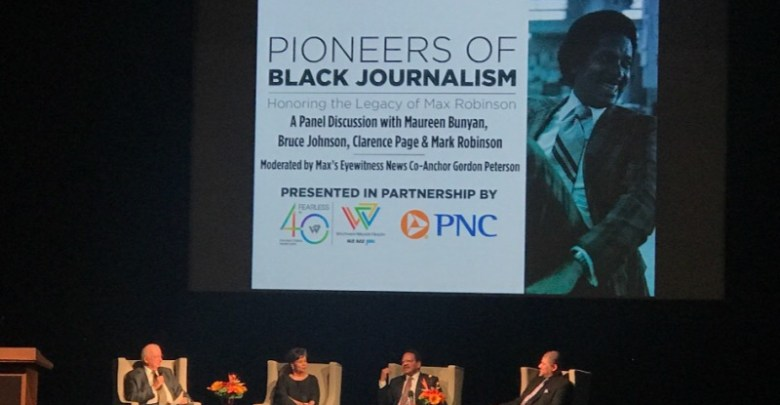 A panel of journalists honor the late Max Robinson, the first Black national television news anchor, during an event at the Lincoln Theatre in D.C. on Feb. 21. (Shevry Lassiter/The Washington Informer)