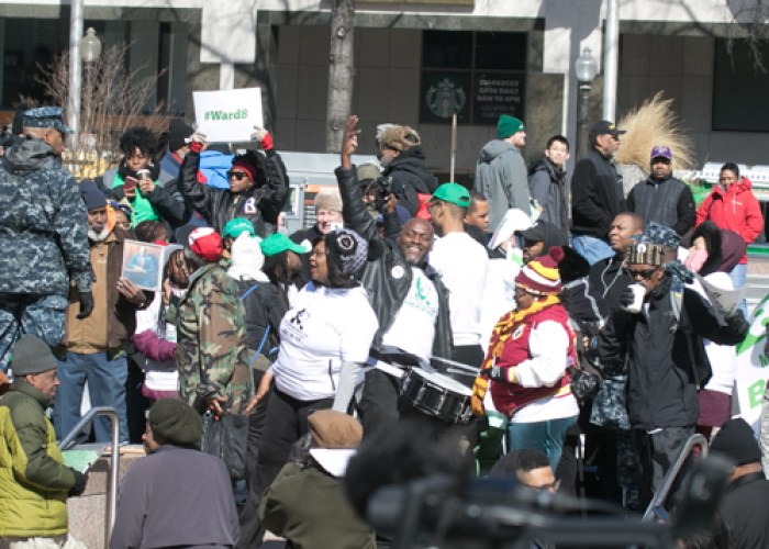 Ward 8 residents make their presence known during the Marion Barry Jr. statue unveiling at the John Wilson District Building on Pennsylvania Avenue Saturday, March 3. (Shevry Lassiter/The Washington Informer)