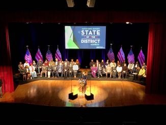 D.C. Mayor Muriel Bowser gives the 2018 State of the District address on March 15. (Courtesy of the mayor's office via Twitter)