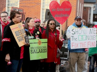 Parents, teachers and students participate in the Prince George's County teachers' union rally demanding more funds toward education at the Maryland State House in Annapolis on March 19. (Demetrious B. Kinney/The Washington Informer)