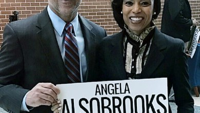 Prince George's County State's Attorney Angela Alsobrooks stands next to Rep. Anthony Brown (D-Maryland) at Prince George's Community College on April 10 during an event to announce Brown's endorsement of Alsobrooks in the county executive race. (Courtesy of the Alsobrooks campaign)