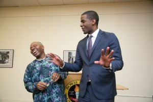 Bakari Sellers shares a laugh with Benjamin O. Arah, associate professor in Bowie State University's Department of History and Government, during the university's Martin Luther King Jr. Commemorative Symposium, which Arah hosted, on April 4, the 50th anniversary of King's assassination.