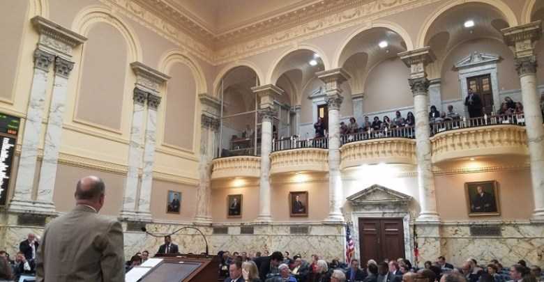 Maryland lawmakers debate a bill for an incentives package to entice Amazon to build its second headquarters in the state during an April 4 session of the General Assembly at the State House in Annapolis. (William J. Ford/The Washington Informer)