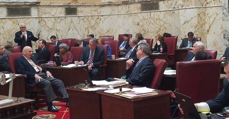 Maryland Senate President Thomas V. Mike Miller Jr. (standing) speaks to colleagues on the Senate floor on April 6. (William J. Ford/The Washington Informer)