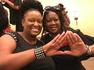 Sybrina Fulton (right), mother of Trayvon Martin, has become a member of Delta Sigma Theta Sorority Inc.'s Miami alumnae chapter. (Courtesy of LaShannon Petit via Instagram)