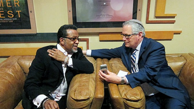 """Bishop Carlton Pearson (left) and Rabbi Malone, executive director of the Interfaith Alliance, attend a screening of """"Come Sunday,"""" a movie based on the life of Pearson, in Washington, D.C. (Courtesy photo)"""