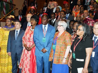 African ambassadors and members of the African diplomatic corps pose for a group photo on the steps of the Marriott Wardman Park hotel ballroom in northwest D.C. before joining guests at the Africa Day Gala on May 24. (Roy Lewis/The Washington Informer)