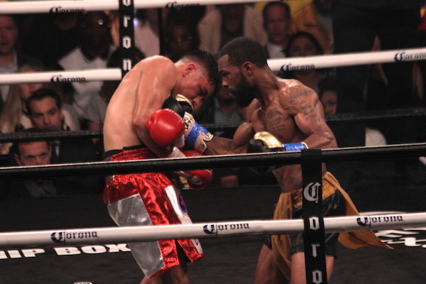 """Gary Russell Jr. successfully defended his WBC featherweight championship with a unanimous decision over Joseph """"JoJo"""" Diaz Jr. at MGM National Harbor in Oxon Hill, Maryland, on May 19. (Mike Greenhill)"""