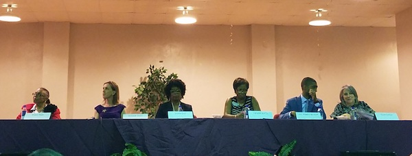 Six Maryland lieutenant governor hopefuls participate in a candidates' forum in Baltimore on May 3. The candidates are (from left): Sharon Blake, Elizabeth Embry, Valerie Ervin, Luwanda Jenkins, Baltimore City Councilman Brandon Scott and Susan Turnbull. (William J. Ford/The Washington Informer)