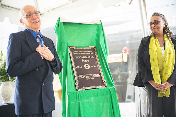Bill Collins and Donna Denize with the memorial marker (Courtesy of Deeba Yavrom)