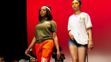 Models showcase the clothing brand Elevate All the Time (EAT) during the DC Youth Present Cool New Summer fashion show at the Atlas Performing Arts Center in D.C. on June 8. (Mark Mahoney/The Washington Informer)