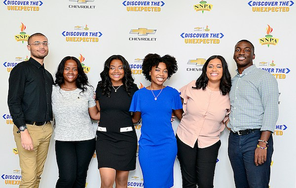 The 2018 NNPA Discover the Unexpected Journalism Fellows are (from left) Tyvan Burns of Norfolk State University, Denver Lark of North Carolina A&T University, Ila Wilborn of Florida A&M University, Daja E. Henry of Howard University, Diamond Durant of Morgan State University and Natrawn Maxwell of Claflin University. (Freddie Allen/AMG/NNPA)