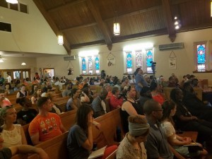 Attendees listen to opening statements during a Maryland gubernatorial candidates' debate at New Waverly United Methodist Church in Baltimore on June 2. (William J. Ford/The Washington Informer)