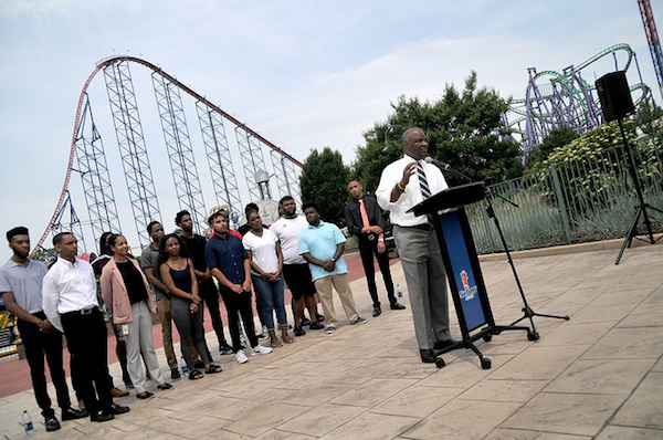 Prince George's County Executive Rushern L. Baker III speaks about the county's summer Youth at Work program at Six Flags America in Upper Marlboro on June 8. (Mike Yourishin/County Executive's Office)