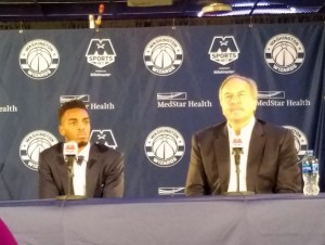 Washington Wizards President Ernie Grunfeld (right) introduces the team's top 2018 draft pick, Troy Brown Jr., during a June 25 press conference at Capital One Arena in D.C. (William J. Ford/The Washington Informer)