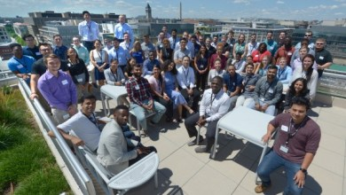 College students participating in an engineering internship program enjoy the view from Pepco Holdings' offices in D.C. (Courtesy of Pepco)
