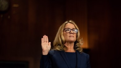 Christine Blasey Ford is sworn in prior to giving testimony before the U.S. Senate Judiciary Committee at the Dirksen Senate Office Building on Capitol Hill September 27, 2018 in Washington, DC. Blasey Ford, a professor at Palo Alto University and a research psychologist at the Stanford University School of Medicine, has accused Supreme Court nominee Brett Kavanaugh of sexually assaulting her during a party in 1982 when they were high school students in suburban Maryland. (Photo by Erin Schaff-Pool/Getty Images)
