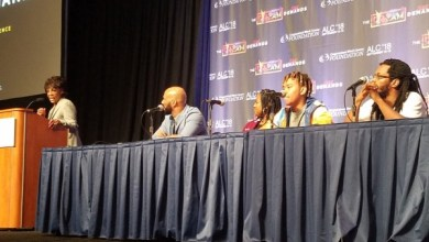 From left: Rep. Maxine Waters (D-Calif.) introduces rappers Common, Rapsody and YBN Cordae and poet Bomani Armah for a panel discussion on the performance arts in Black culture during the Congressional Black Caucus Foundation's 48th Annual Legislative Conference at the Walter E. Washington Convention Center in D.C. on Sept. 14. (William J. Ford/The Washington Informer)