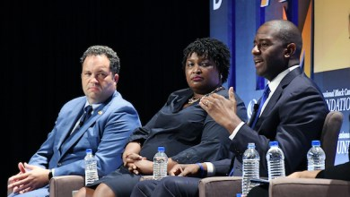 From left: Ben Jealous, Stacey Abrams and Andrew Gillum, the three gubernatorial hopefuls in Maryland, Georgia and Florida, respectively, speak about the midterm elections in November during the Congressional Black Caucus Foundation's Annual Legislative Conference on Sept. 13. (Roy Lewis/The Washington Informer)