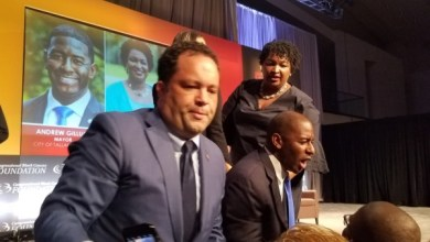 From left: Gubernatorial candidates Ben Jealous, Andrew Gillum and Stacey Abrams greet attendees during the Congressional Black Caucus Foundation's Annual Legislative Conference at the Walter E. Washington Convention Center in D.C. on Sept. 13. (William J. Ford/The Washington Informer)