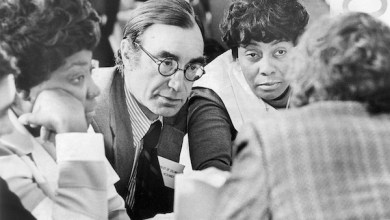 From left: Lillian Huff, John Hechinger and Barbara Morgan in the huddle from the District of Columbia at the open session meeting of the National Democratic Committee at the Washington Hilton hotel on Dec. 9, 1972. (Photo by Charles Del Vecchio/The Washington Post/Getty Images)