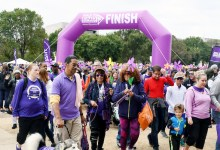 Families, friends and corporate organizations join together to raise awareness and money for care, support and research by participating in the Walk to End Alzheimer's in northwest D.C. on Oct. 13. (Roy Lewis/The Washington Informer)