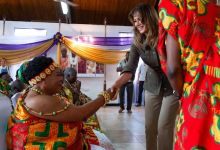First lady Melania Trump greets a receiving line at the Emintsimadze palace in Cape Coast, Ghana, October 3, 2018. Trump is on a solo tour of Africa to promote her children's welfare program. (Photo by SAUL LOEB/AFP/Getty Images)