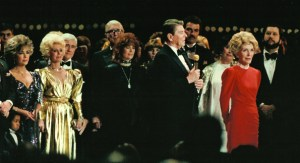 President and Mrs. Reagan at the 1985 Presidential Inaugural Gala with Barry H. Landau (far right), Dean Martin, Ray Charles, Frank Sinatra, Eva Gabor, Merv Griffin, Elizabeth Taylor, and Jimmy Stewart. (Photo courtesy of the Barry H. Landau Collection)